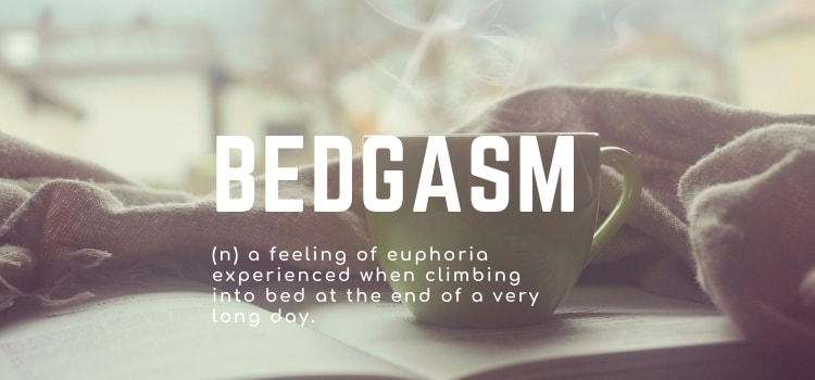 Bedgasm - (n) a feeling of euphoria experienced when climbing into bed at the end of a very long day.